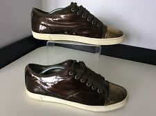 Lanvin sneakers marron cuir verni gold toe, uk 5, Eu38, baskets, escarpins