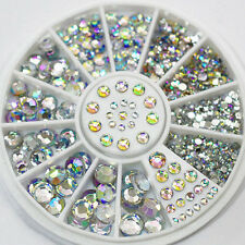 Nail Art Tips Accessories Mixed Glitter Crystal Glass Rhinestones+Wheel 5 Size