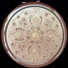 """DIAMANTE & PEARL"" DOUBLE SIDED COMPACT MIRROR WITH MAGNIFIER MOTHER'S DAY GIFT"