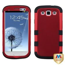 Samsung Galaxy S3 SIII Solid Color 3 Piece  Tuff Silicone Phone Case Cover