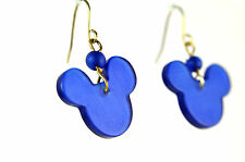 """ELEGANT STUNNING BRIGHT BLUE """"MICKEY MOUSE """" EARRINGS BRAND NEW UNIQUE (A19)"""