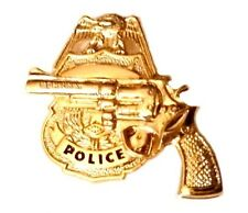 Police Badge Revolver Tie Tac Tack Officer Pistol Shield Gold Plate 3608 New