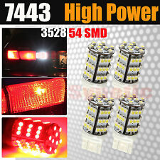 4x 7443 54SMD Chip LED Red Dual Filament Turn Signal Blinker Parking Light Bulbs
