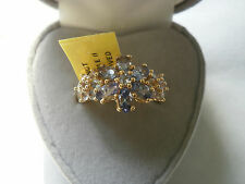 Rare Natural Chameleon Bi-Colour Tanzanite 14K Y Gold/925 Ring Size N
