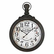 Aspire Home Accents Large Pocket Watch Style Distressed Black Wall Clock 28""