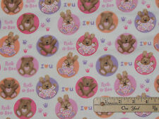 Peek-a-Boo I Luv U Baby Bear Bunny PINK Dot FLANNEL Fabric by the 1/2 Yard #3134