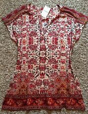 NWT! Women's Lucky Brand Peasant Boho Paisley Floral XL Top Shirt Blouse Pretty!
