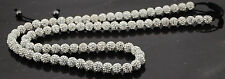 32 inches Long Shamballa necklace 80 beads 10mm white crystal beads