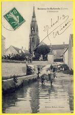 cpa 45 - Village de BEAUNE la ROLANDE (Loiret) L' ABREUVOIR Animée Chevaux