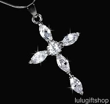 18K WHITE GOLD PLATED DIAMANTE CROSS PENDANT NECKLACE USE SWAROVSKI CRYSTALS