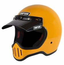 Simpson Retro M50 Yellow Motorycle Full Face Helmet 5 Snap Visor SIZE XL