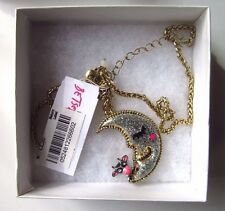 NWT BETSEY JOHNSON COW JUMPED OVER MOON SILVER SPARKLE PENDANT NECKLACE MACYS