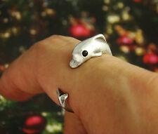 Super Cute Dolphin Animal Ring Adjustable Silver Finger Wrap Crystal Eyes AR-19