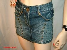 NEW SELECT BLUE DENIM SILVERTONE STUDDED COTTON MINI SKIRT 6