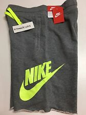 Nike AW77 French Terry Alumni Frayed Hem Shorts Grey 678568 091 Men's Medium