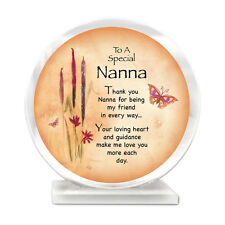 Polished ORANGE Glass Plaque~NANNA~PINK Flowers~BIRTHDAY@BUTTERFLY@GRAN GIFT Set