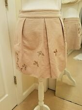 Leifnotes Anthropologie Skirt Mini Migration Sequin Birds Shimmer Beige Size 2