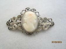 ART DECO ITALIAN SILVER WIREWORK & CARVED CAMEO PIN - C) 1920S/ 1930S