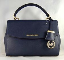 MICHAEL MICHAEL KORS AVA SMALL NAVY LEATHER TOP HANDLE SATCHEL BAG