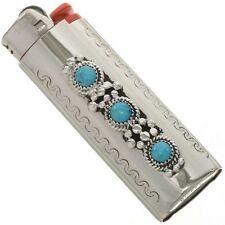 Silver Lighter Case Cover Natural Kingman Turquoise Flower Leaf