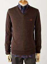 Fred Perry K1320 Liquorice Marl Mens Merino Wool/Cotton V Neck Sweater Size L