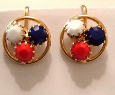 VINTAGE CLIP EARRINGS DAINTY ROUND GOLD RED WHITE BLUE GLASS STONES PRONG SET