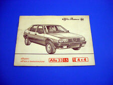 Alfa Romeo 33 1.5 4x4 Libretto Manuale Uso e Manutenzione 1984 ORIGINALE