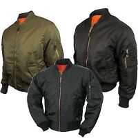 Brand New Mens MA1 Bomber Jacket With Gold Zip & Side Pockets Size S M L XL