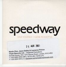 (EB556) Speedway, Save Yourself / Genie In A Bottle - 2003 DJ CD