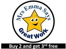 70 Personalised Reward Teacher Stickers Star Smiling Great Work 3 FOR 2 Labels