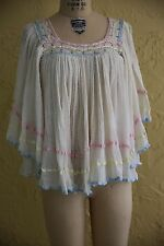 Vtg 60s 70s Top Blouse Mexican Sheer Gauze Boho Hippie Festival Lace Ribbon