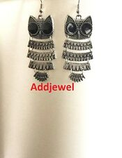 New Vintage Retro Antique Style Silver Owl Earrings Drop/Dangle Alloy Charm Gift