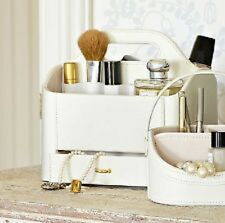 Cream Faux Leather Make Up Storage Caddy With Drawer & Handle