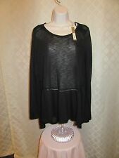 LC Lauren Conrad Long Sleeve Black Tunic Blouse size LG 85% polyester 25% rayon