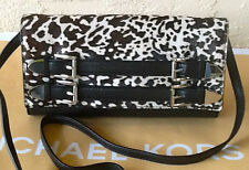 NWT-MICHAEL KORS Robin Calf Hair Black/White LEATHER Clutch/Crossbody/Shoulder