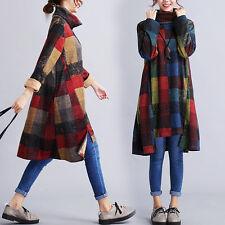 Vintage Women Autumn Winter Checks A Line Turtleneck Floral Tunic Dress Blue 2XL