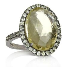 NEW TREASURES OF INDIA LEMON QUARTZ AND PERIDOT SILVER RING SIZE 6 HSN SOLD OUT