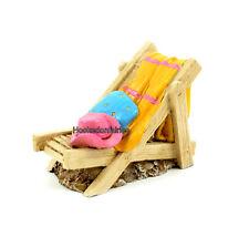Miniature Island Deck Chair w Towel/Hat 60001  Fairy Garden Dollhouse Terrarium