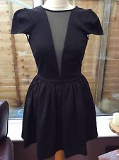 Topshop Black Brocade Dress With Mesh Insert - Size 8 - Skater Prom Wedding
