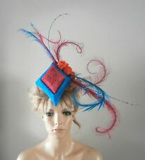 TURQUOISE/CERISE/ORANGE/FASCINATOR/PERCHER/HAT/VINTAGE/ASCOT/WEDDING/BRIDE/RACES