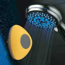 HotelSpa® 7-Setting 7-Color LED Handheld w/ Yellow Bluetooth Shower Speaker