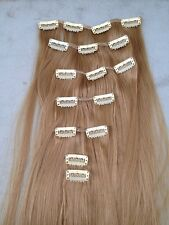 "dark blonde 7 pieces set straight 20"" long clip in on hair extension heat resist"