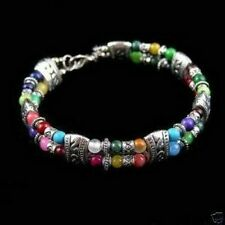 New      Tibet silver multicolor jade turquoise bead bracelet