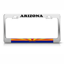 ARIZONA STATE FLAG Metal Heavy Duty Chrome License Plate Frame Tag Border