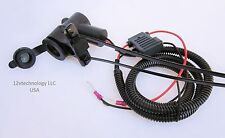 Motorcycle Marine 12 Volt Accessory Socket, Power Outlet Fused Harness & Mount
