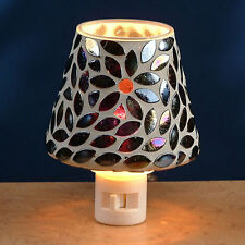 Glass Mosaic Nigh Light by Gift Connection - BLACK FLOWER - #GC-NL-PN242