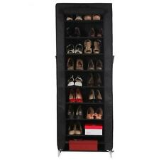 CANVAS 9 SHELVE TIER LAYER SHOE RACK/ORGANIZER/STAND FOR 18 PAIR SHOES BLACK