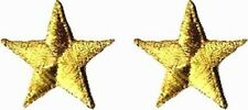 TWO GOLD STARS small IRON-ON PATCH (Set of 2) Free Shipping military yellow star