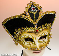 Mardi Gras Mask Gold & Black Fancy Half Face Mask With Attached Hat
