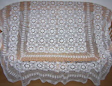 VINTAGE HAND CROCHET COTTON LARGE RECTANGULAR TABLECLOTH BED COVER 220 X 170 CM